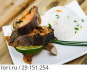 Купить «Baked trout steaks with rice», фото № 29151254, снято 22 октября 2018 г. (c) Яков Филимонов / Фотобанк Лори