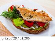 Купить «Tasty sandwich with trout, guacamole, red pepperand greens at plate», фото № 29151286, снято 16 октября 2018 г. (c) Яков Филимонов / Фотобанк Лори
