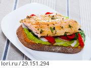 Купить «Delicious sandwich with trout, guacamole and fresh pepper at plate», фото № 29151294, снято 16 октября 2018 г. (c) Яков Филимонов / Фотобанк Лори