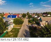 Купить «top view of one-story provincial city in Russia», фото № 29151682, снято 2 августа 2018 г. (c) Володина Ольга / Фотобанк Лори
