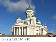 Купить «Finnish Evangelical Lutheran cathedral of Diocese (1852) of Helsinki, located in neighborhood of Kruununhaka. Suomi», фото № 29161710, снято 27 сентября 2018 г. (c) Валерия Попова / Фотобанк Лори