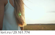 Купить «Long hair of the brown-haired young girl scatter in the wind in the sunshine rays of the evening», видеоролик № 29161774, снято 6 сентября 2018 г. (c) Mikhail Davidovich / Фотобанк Лори