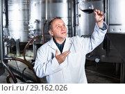 Купить «Wine maker controls quality of wine», фото № 29162026, снято 12 октября 2016 г. (c) Яков Филимонов / Фотобанк Лори