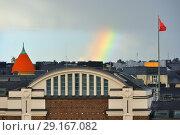 Купить «Rainbow over roofs of houses of Katajanokka. Helsinki, Finland», фото № 29167082, снято 24 сентября 2018 г. (c) Валерия Попова / Фотобанк Лори