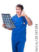 Купить «Radiologist doctor with x-ray image isolated on white», фото № 29167094, снято 6 июля 2018 г. (c) Elnur / Фотобанк Лори