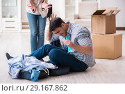 Купить «Woman evicting man from house during family conflict», фото № 29167862, снято 23 марта 2018 г. (c) Elnur / Фотобанк Лори