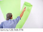 Купить «Young painter doing renovation at home», фото № 29169774, снято 2 мая 2018 г. (c) Elnur / Фотобанк Лори