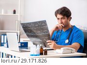 Купить «Male doctor radiologist with x-ray can image», фото № 29171826, снято 3 июля 2018 г. (c) Elnur / Фотобанк Лори