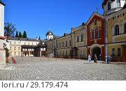 Купить «New Athos, Abkhazia - June 3. 2018. courtyard in Novy Afonsky for men Monastery», фото № 29179474, снято 3 июня 2018 г. (c) Володина Ольга / Фотобанк Лори