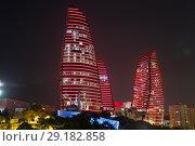 Купить «Огненные башни ночью. Баку. Азербайджан», фото № 29182858, снято 23 сентября 2017 г. (c) Евгений Ткачёв / Фотобанк Лори