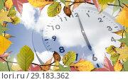 Купить «Frame with autumn leaves and clock 4k», видеоролик № 29183362, снято 22 мая 2019 г. (c) Wavebreak Media / Фотобанк Лори