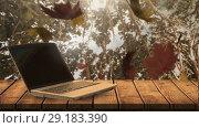 Купить «Laptop and falling autumn leaves 4k», видеоролик № 29183390, снято 24 января 2020 г. (c) Wavebreak Media / Фотобанк Лори