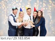 Купить «friends with champagne glasses at birthday party», фото № 29183854, снято 3 марта 2018 г. (c) Syda Productions / Фотобанк Лори