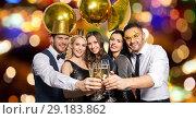 Купить «happy friends clinking champagne glasses at party», фото № 29183862, снято 3 марта 2018 г. (c) Syda Productions / Фотобанк Лори