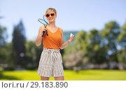 Купить «teenager with badminton rackets and shuttlecock», фото № 29183890, снято 30 июня 2018 г. (c) Syda Productions / Фотобанк Лори