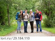 Купить «friends hiking with backpacks and show thumbs up», фото № 29184110, снято 31 августа 2014 г. (c) Syda Productions / Фотобанк Лори