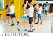 Купить «Smiling people dancing waltz», фото № 29185362, снято 21 июня 2017 г. (c) Яков Филимонов / Фотобанк Лори