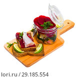 Купить «Homemade pickled poutassou with beets», фото № 29185554, снято 23 августа 2018 г. (c) Яков Филимонов / Фотобанк Лори