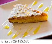 Купить «Almond pie Tarta de Santiago», фото № 29185570, снято 24 июля 2019 г. (c) Яков Филимонов / Фотобанк Лори