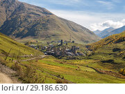Купить «View of mountain village Ushguli with traditional Svan towers. Upper Svaneti, Georgia», фото № 29186630, снято 28 сентября 2018 г. (c) Юлия Бабкина / Фотобанк Лори