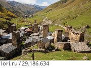 Купить «Svan towers in Ushguli», фото № 29186634, снято 28 сентября 2018 г. (c) Юлия Бабкина / Фотобанк Лори