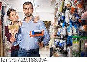 Купить «Two designers in household store», фото № 29188094, снято 16 февраля 2018 г. (c) Яков Филимонов / Фотобанк Лори