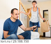 Купить «Family couple having serious conversation», фото № 29188150, снято 21 октября 2018 г. (c) Яков Филимонов / Фотобанк Лори