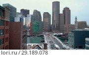 Купить «Boston downtown at winter morning», видеоролик № 29189078, снято 8 октября 2018 г. (c) Sergey Borisov / Фотобанк Лори