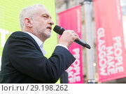 Купить «Labour leader Jeremy Corbyn kicks off his eve of poll tour of the UK with a stump speech outside the Dune shoe shop in Glasgow Featuring: Jeremy Corbyn...», фото № 29198262, снято 7 июня 2017 г. (c) age Fotostock / Фотобанк Лори