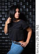 Купить «Portrait of pretty brunette», фото № 29200762, снято 5 сентября 2015 г. (c) Сергей Сухоруков / Фотобанк Лори