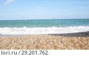 Купить «Woman in blue swimsuit running into the water», видеоролик № 29201762, снято 18 октября 2018 г. (c) Константин Шишкин / Фотобанк Лори