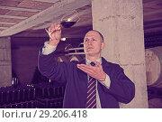 Купить «Wine producer inspecting red wine in cellar», фото № 29206418, снято 22 января 2018 г. (c) Яков Филимонов / Фотобанк Лори