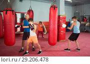 Купить «Boxing training in a teenage group», фото № 29206478, снято 12 апреля 2017 г. (c) Яков Филимонов / Фотобанк Лори