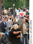 Купить «People attend a vigil in Manchester for the victims of the terror attack at the Ariana Grande concert Featuring: Atmosphere Where: Manchester, United Kingdom...», фото № 29207894, снято 23 мая 2017 г. (c) age Fotostock / Фотобанк Лори