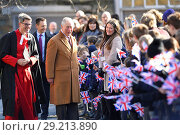 Купить «Prince Charles arrives at Durham Cathedral on the first stop of his tour of the city of Durham Featuring: Prince Charles Where: Durham, United Kingdom When: 15 Feb 2018 Credit: Euan Cherry/WENN.com», фото № 29213890, снято 15 февраля 2018 г. (c) age Fotostock / Фотобанк Лори