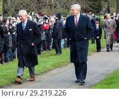 Купить «The British Royal family arrive at Sandringham to celebrate Christmas Day Featuring: Prince Andrew, Prince Charles Where: Sandringham, United Kingdom When: 25 Dec 2017 Credit: Ward/WENN.com», фото № 29219226, снято 25 декабря 2017 г. (c) age Fotostock / Фотобанк Лори
