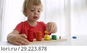 Купить «Kid playing with wooden developing puzzle toys», видеоролик № 29223878, снято 28 сентября 2018 г. (c) Ekaterina Demidova / Фотобанк Лори