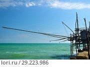Купить «A old trabucco a typical construction for fishing. Abruzzo, Italy», фото № 29223986, снято 4 июля 2006 г. (c) Знаменский Олег / Фотобанк Лори