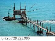 Купить «An old trabucco a typical construction for fishing. Abruzzo, Italy», фото № 29223990, снято 4 июля 2006 г. (c) Знаменский Олег / Фотобанк Лори