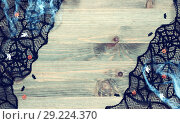 Купить «Halloween background.Spider web, black cobweb lace and decorations- the symbols of Halloween on the wooden background», фото № 29224370, снято 2 октября 2018 г. (c) Зезелина Марина / Фотобанк Лори