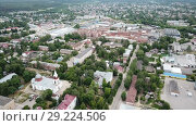 Купить «Panoramic aerial view of district of Gus-Khrustalny, Vladimir region, Russia», видеоролик № 29224506, снято 27 июня 2018 г. (c) Яков Филимонов / Фотобанк Лори