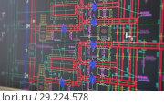 Купить «Проектирование, экран монитора с электронной версией чертежа, крупный план», видеоролик № 29224578, снято 9 марта 2018 г. (c) Кекяляйнен Андрей / Фотобанк Лори