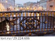 Купить «Чугуная ограда Большого Конюшеного моста, Санкт-Петербург, Россия», фото № 29224606, снято 12 октября 2018 г. (c) Stockphoto / Фотобанк Лори
