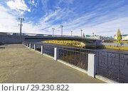 Купить «Омск.Полностью реконструированный Юбилейный мост через реку Омь», фото № 29230822, снято 9 октября 2018 г. (c) Круглов Олег / Фотобанк Лори