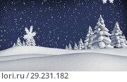 Winter forest with Christmas snowflakes falling. Стоковое видео, агентство Wavebreak Media / Фотобанк Лори