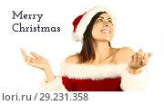 Купить «Merry Christmas text and beautiful Santa woman», видеоролик № 29231358, снято 22 октября 2018 г. (c) Wavebreak Media / Фотобанк Лори