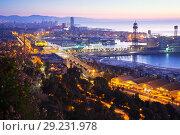 Купить «Port at Barcelona in dawn», фото № 29231978, снято 15 октября 2018 г. (c) Яков Филимонов / Фотобанк Лори