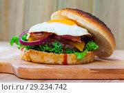 Купить «Hamburger with fried egg, bacon, cheese, lettuce, onion», фото № 29234742, снято 21 октября 2018 г. (c) Яков Филимонов / Фотобанк Лори