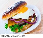 Купить «Delicious hamburger with beef cutlet, fried egg, lettuce and cheese», фото № 29234750, снято 22 октября 2018 г. (c) Яков Филимонов / Фотобанк Лори
