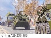 Купить «Russia, Samara, May 2018: BTR-82 armored personnel carrier on a summer sunny day.», фото № 29236186, снято 5 мая 2018 г. (c) Акиньшин Владимир / Фотобанк Лори